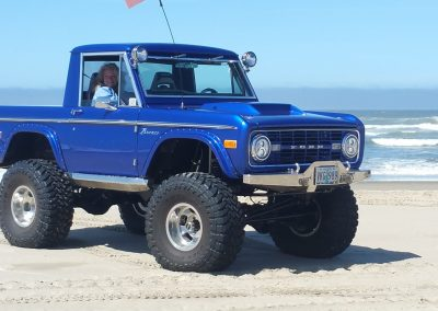 BroncoBob Early Ford Bronco Restoration Blue Ford Bronco at the Beach